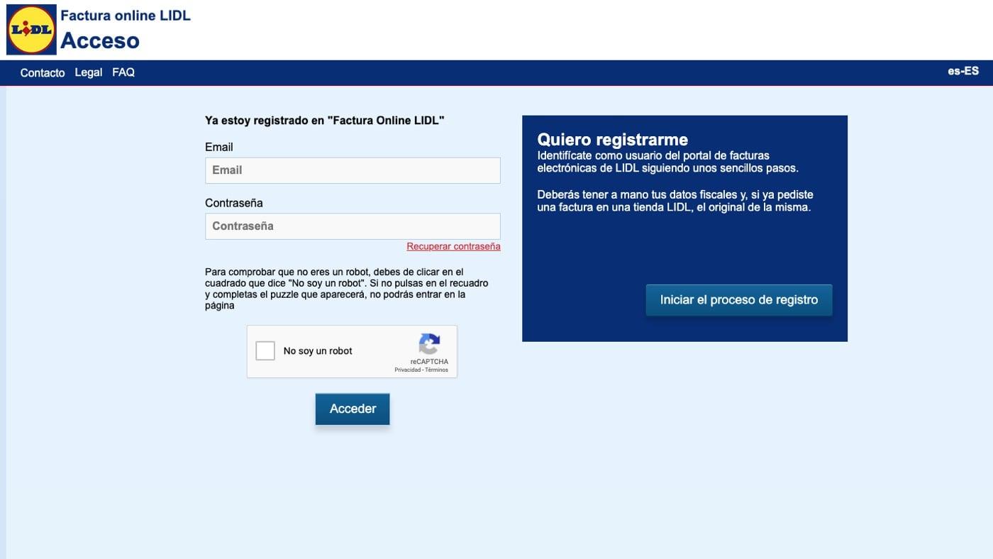 Web de registro de facturación de lidl
